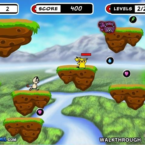 Покемон Пикачу перемещение по платформам