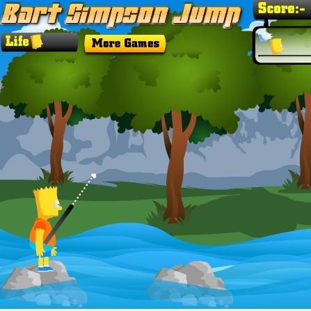 Симпсоны Барт прыгает по камням - Симпсоны