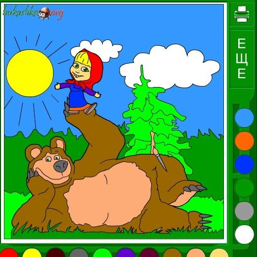 Маша и Медведь на лесной поляне раскраска