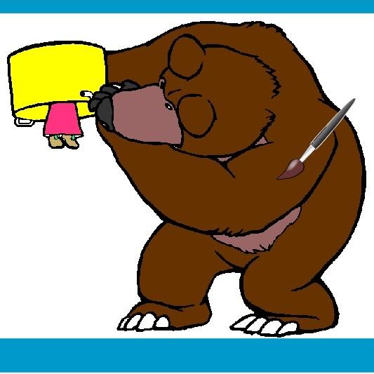 Раскраска Маша и Медведь играют в прятки