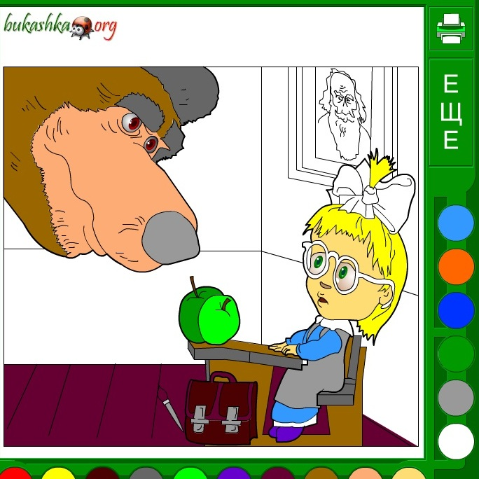 Раскраска Маша и Медведь в школе
