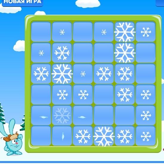 Смешарики разбей снежинки