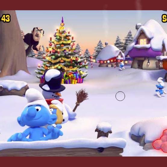 Смурфики игра в снежки