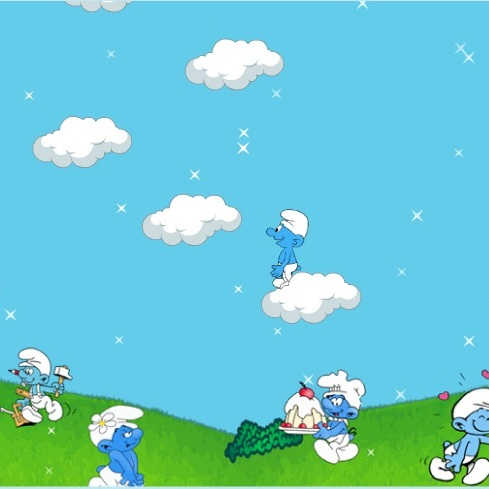 Смурфики прыжки в облака