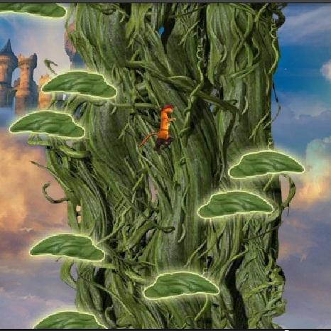 Кот в Сапогах прыжки по бобовому дереву