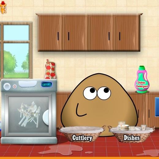 Pou моет посуду