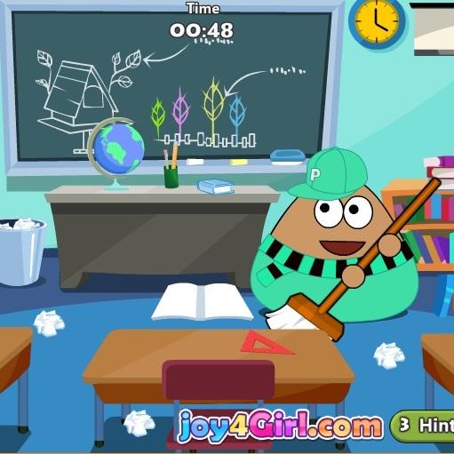 Pou убирает школьный класc