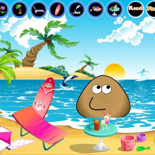 Pou отдыхает на пляже