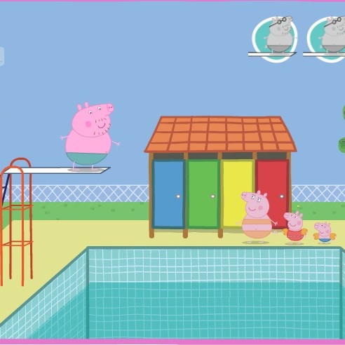Свинка Пеппа прыжки в воду папы свинки