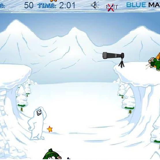 Йети: бросает снежки
