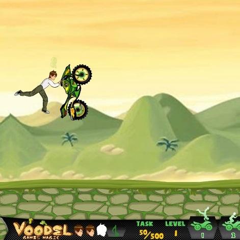 Трюки на мотоцикле Бена 10
