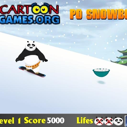 Кунг-фу Панда По на сноуборде